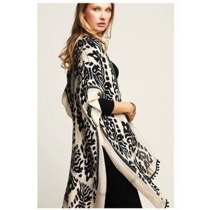 NWT Boho Leopard Print Black-Cream Kimono